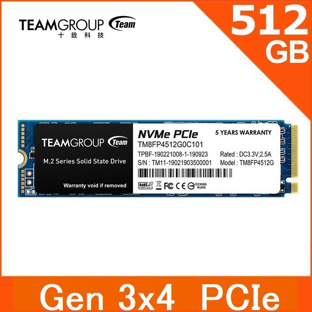 TEAM 十銓 MP34 512GB M.2 PCIe SSD 固態硬碟