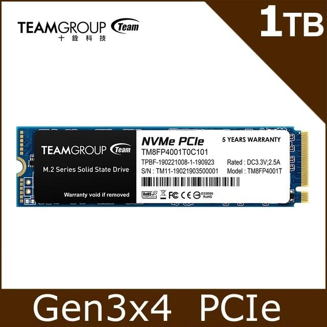 TEAM 十銓 MP34 1TB M.2 PCIe SSD 固態硬碟