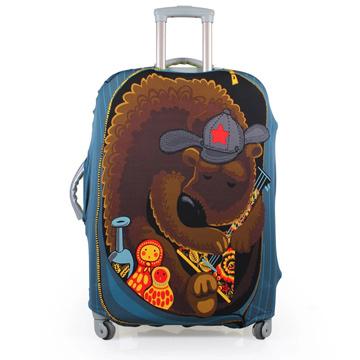 PUSH! 旅遊用品俄羅斯娃娃熊行李箱 拉桿箱 登機箱 彈力保護套 防塵套 箱套 拖運套20寸