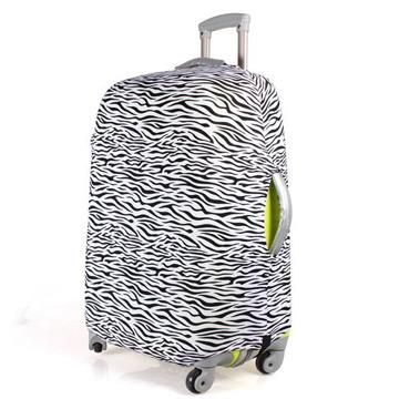 PUSH! 旅遊用品斑馬紋行李箱拉桿箱登機箱彈力保護套防塵套箱套拖運套