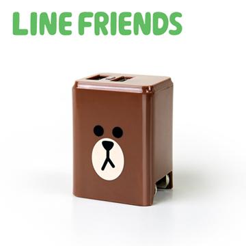 LINE FRIENDS 2.4A隱藏式雙孔USB充電器-熊大(LN-AC240)