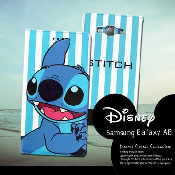 迪士尼授權正版Samsung Galaxy A8 A800YZ 潮流條紋磁力皮套(微笑史迪奇)