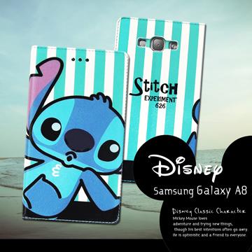 迪士尼授權正版Samsung Galaxy A8 A800YZ 潮流條紋磁力皮套(嘟嘴史迪奇)