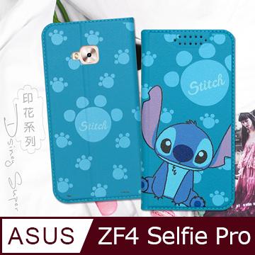 迪士尼授權正版 ASUS ZenFone 4 Selfie Pro ZD552KL 印花系列彩繪皮套(史迪奇)
