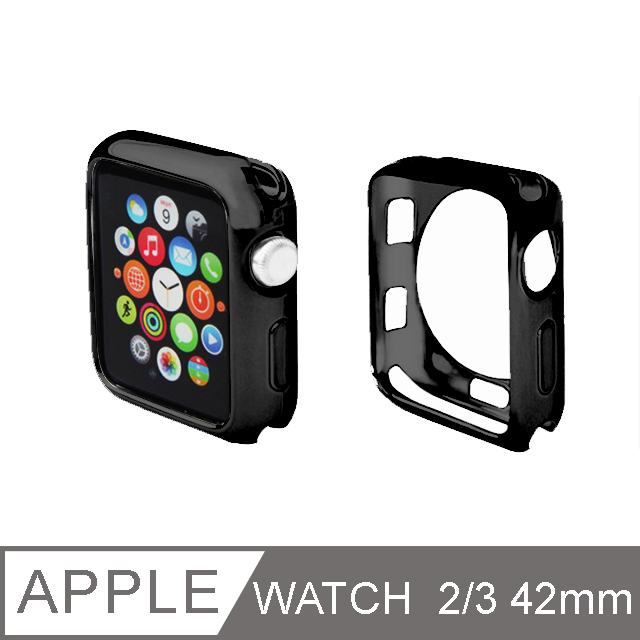 Apple Watch 超輕薄TPU金屬質感保護殼42mm 黑色