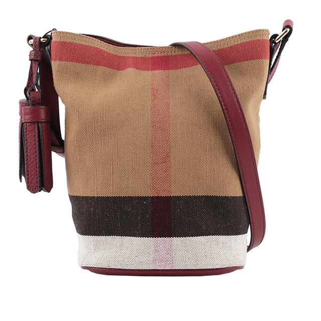 BURBERRY 格紋棉麻混紡斜背水桶包(駝/紅) 40204851