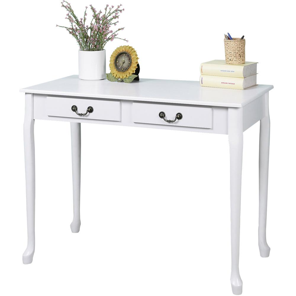 Homelike 典雅歐風二抽書桌-白色