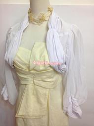 優雅多摺復古羊腿袖抓摺薄紗披肩 長袖小外套 禮服批肩小外套 婚紗禮服小罩衫 白色 M號