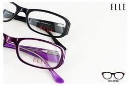 【My Eyes 瞳言瞳語】ELLE 黑/深紫方圓框光學眼鏡 水鑽璀璨風 樸實小奢華 學生/小臉型最佳(18794)