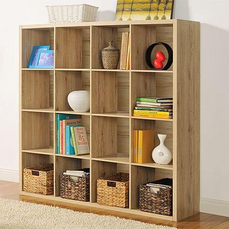 特賣↘【德萊妮】DIY時尚設計十六格櫃/書櫃/置物櫃/收納櫃/隔間櫃(淺橡色)