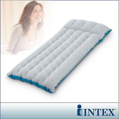 【INTEX】單人野營充氣床墊/露營睡墊-寬67cm (灰藍色) (67997)