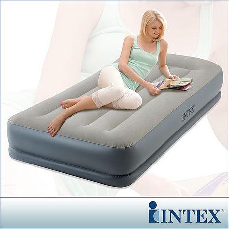 【INTEX】舒適雙層內建電動幫浦充氣床墊(fiber tech)-有頭枕-單人加大-寬99cm(64115)