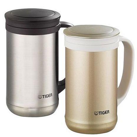 【TIGER虎牌】500cc不鏽鋼保溫保冷辦公室杯有茶濾網 MCM-T050不銹鋼色