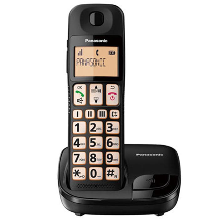 【KX-TGE110TWB】 Panasonic 國際牌大螢幕大按鍵助聽功能DECT數位無線電話 KX-TGE110 (松下公司貨) 黑色