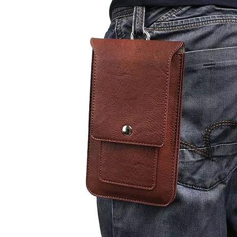 【MK馬克】皮質直立式手機套 腰扣 皮帶式 帶掛勾 可插卡(6.3吋)黑色