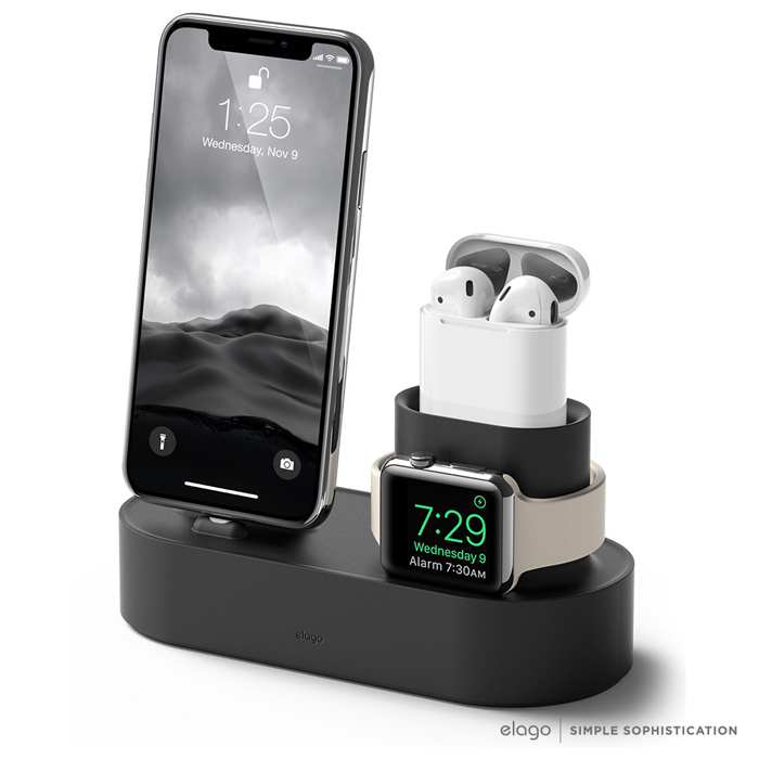 elago Apple 3合1充電座 - 整合iPhone / AirPods / Apple Watch黑