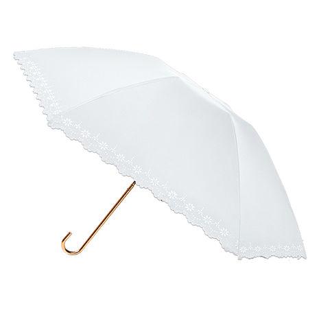 【2mm】100遮光 鏤空花邊黑膠輕量彎把手開傘(白色)