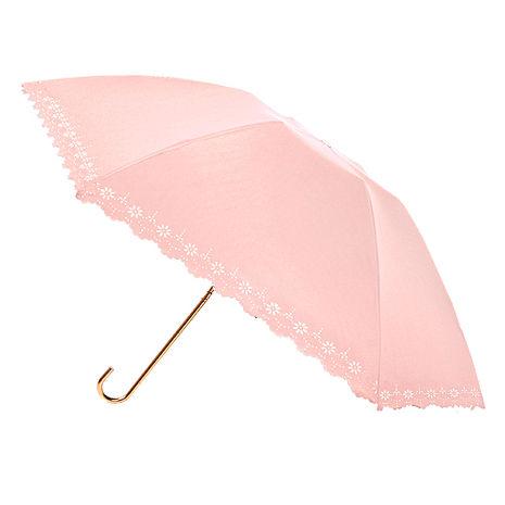 【2mm】100遮光 鏤空花邊黑膠輕量彎把手開傘(粉色)