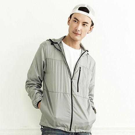 【SHAPA】輕薄連帽風衣外套 灰(男女通用款)L