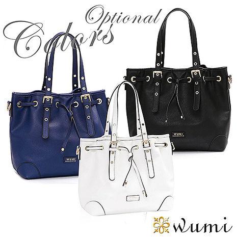 WuMi 無米 貝絲經典十字紋水桶包 共三色寶藍