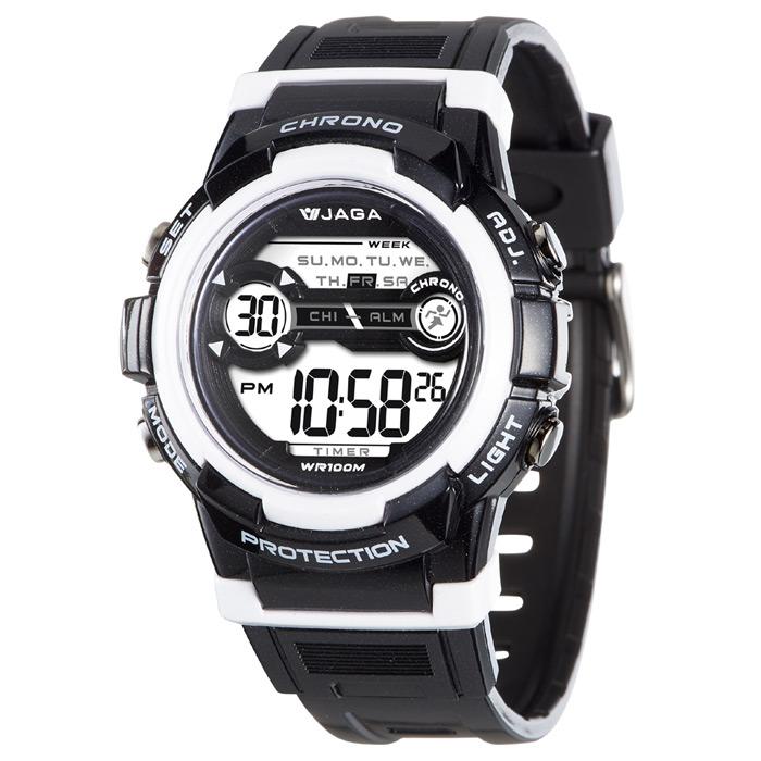 JAGA 捷卡 M1126-AD 色彩繽紛花漾年華多功能電子錶-黑白