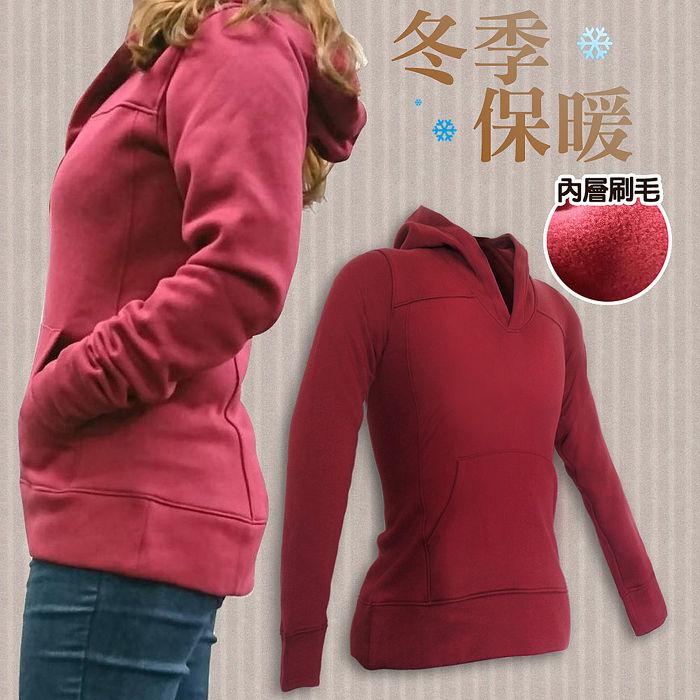 【ATEMPO】栗紅素面修身版刷毛連帽上衣L