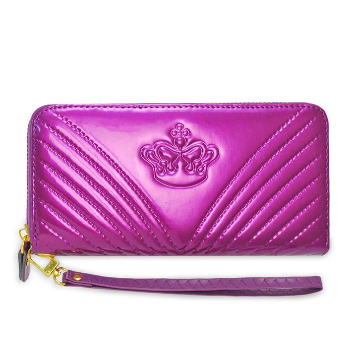 Dennibella 丹妮貝拉 - 皮夾/長夾 可愛時尚 皇冠露珠漆皮手拿帶- 糖果紫