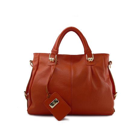【Dennibella 丹妮貝拉】真皮蛇鍊造型手提包-繽紛橘