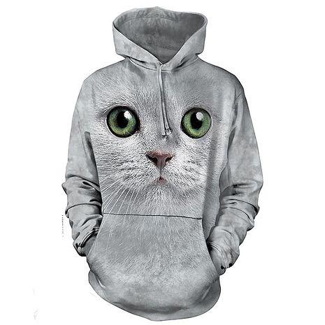 【摩達客】(預購)美國進口The Mountain 綠眼貓臉 長袖連帽T恤成人Adult-M