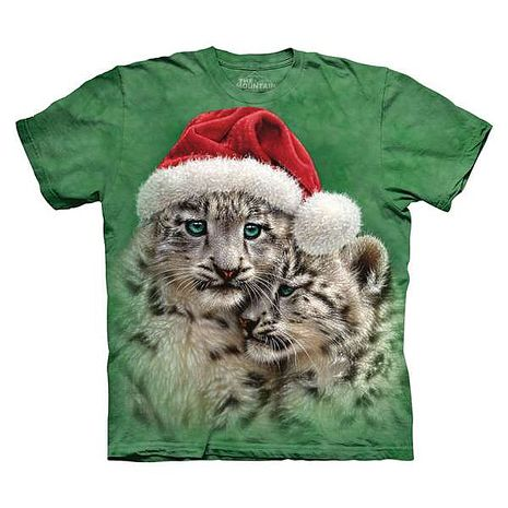 【摩達客】(預購)美國進口The Mountain 聖誕雪豹 純棉環保短袖T恤青少年Y-M