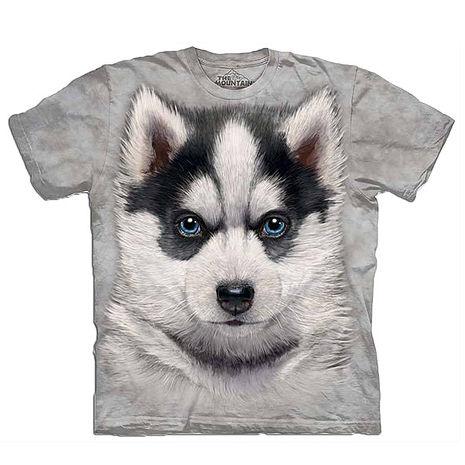 【摩達客】美國進口The Mountain 小哈士奇犬 純棉環保短袖T恤(預購)-狗成人版 L (=台版XL/2X