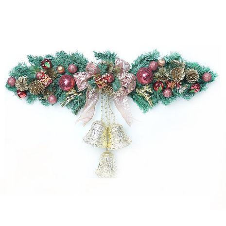 【摩達客】(預購3~5天出貨)(壁飾門飾)聖誕幸福雙鐘裝飾樹藤(紅金色)(大型)(壁飾門飾)