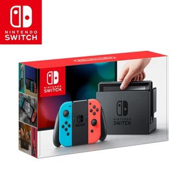 任天堂 Nintendo Switch主機組合-電光藍&電光紅台灣公司貨+joy-con手把1組+充電座 加贈玻璃保貼+防塵豪華組手把-黃色