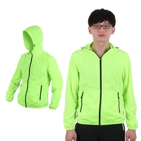 【SOFO】男連帽風衣外套-防風外套 螢光綠XL