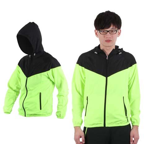 【SOFO】男連帽風衣外套-防風外套 螢光綠黑XL