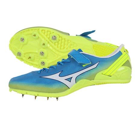 【MIZUNO】GEO SPRINT 2 男女田徑釘鞋- 短距離 跨欄 水藍螢光黃26