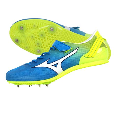【MIZUNO】GEO STREAK 男女田徑釘鞋- 短距離 跨欄 水藍螢光黃27.5