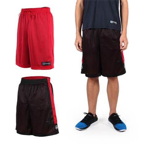 【FIRESTAR】男雙面網布籃球短褲-慢跑 路跑 籃球 休閒 黑紅M