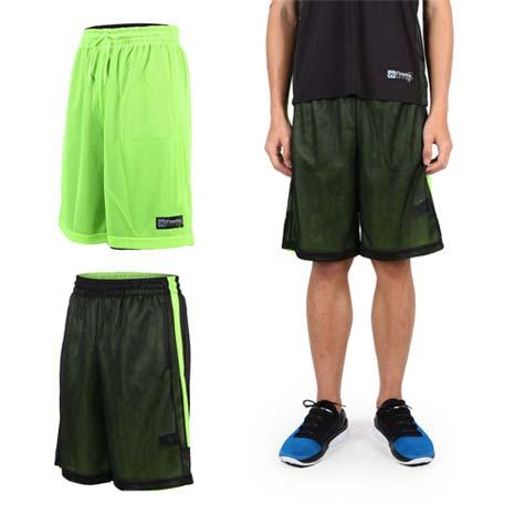 【FIRESTAR】男雙面網布籃球短褲-慢跑 路跑 籃球 休閒 黑螢光綠L
