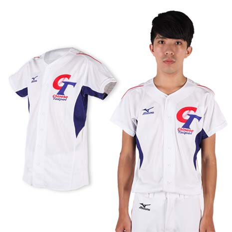 【MIZUNO】限量中華台北男女加油短袖T恤- 棒球衣 美津濃 白藍紅M