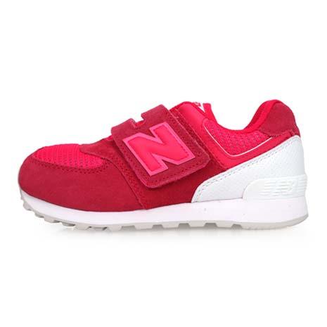 【NEWBALANCE】574系列 男女童復古慢跑鞋-魔鬼氈-WIDE-NB 桃紅白20