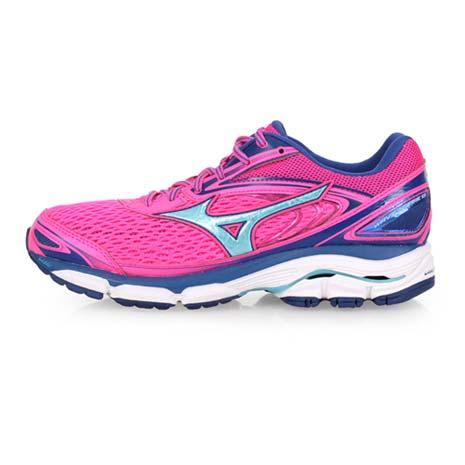 【MIZUNO】WAVE INSPIRE 13 女慢跑鞋-路跑 訓練 美津濃 粉紅水藍24.5