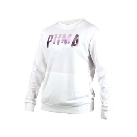【PUMA】FUSION女長袖圓領衫-長T T恤 慢跑 白玫瑰金L