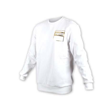 【PUMA】男基本系列REBEL金色長袖圓領衫-T恤 長T 保暖 刷毛 慢跑 路跑 白金XL