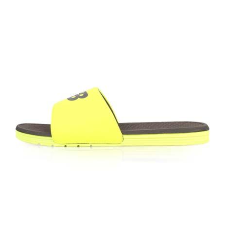 【NEWBALANCE】男拖鞋-D-游泳 海邊 海灘 休閒 NB 螢光黃灰24
