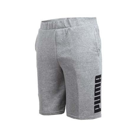 【PUMA】男棉質短褲-慢跑 路跑 灰黑XL