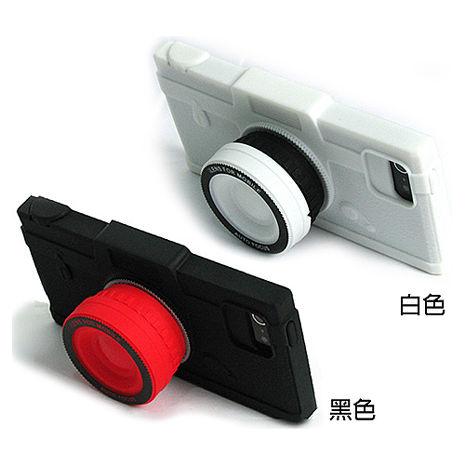 【限量超值組】iTake鏡頭造型矽膠保護套+捲線器組 Iphone5/5S SE黑色