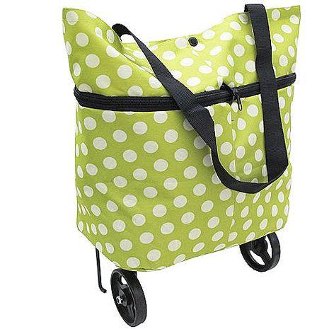 月陽時尚圓點可肩背手拉兩用滾輪摺疊收納購物袋(CL03).橘色