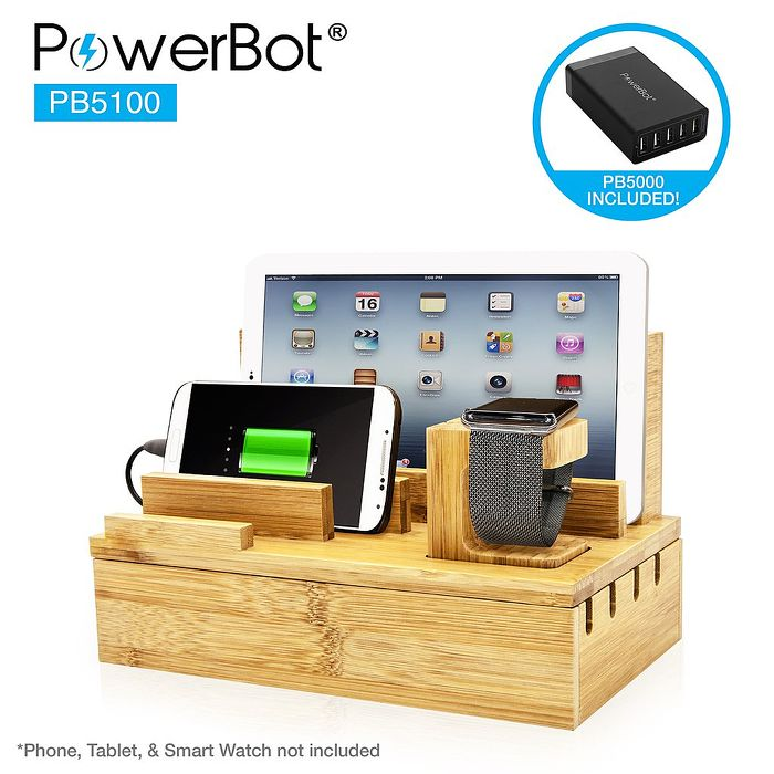 美國聲霸PowerBot PB5100 40瓦 8A 5埠 竹製收納站 + 快速充電器 PB5000