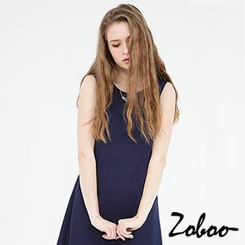 【Zoboo】OL,上班族必備小資小圓領無袖素面修身洋裝,小禮服,晚宴服,心機洋裝(Q5041)深藍色L號